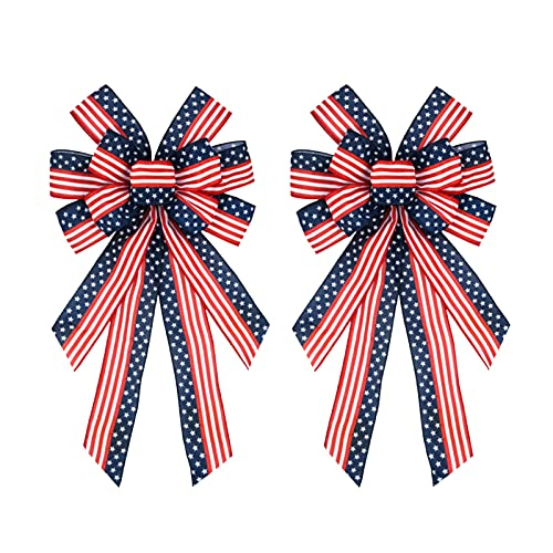RNSUNH 2Pcs Patriotic Wreath Bows 11.4 x 20.9inch Red Blue Stars and Stripes Bow 4th of July Independence Day Patriotic Bows for Memorial Day Indoor Outdoor Decor