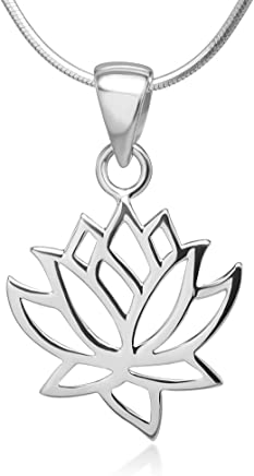 925 Sterling Silver Open Woman Lotus Flower Pendant Necklace Italian Silver Chain 18 inches