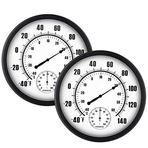 Bigpea 2 StüCke 10 Zoll Indoor Au?En Wetter Thermometer und Hygrometer Temperatur Luft Feuchtigkeit Keine Batterie Ben?Tigt Gro?E H?Ngende Hygrometer Runde für Terrasse KüChe