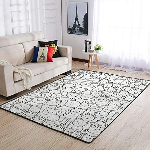 OwlOwlfan Full Screen Cat Floor Rugs Modern Home Decor Area Rugs Floor Rug Mat for Bedroom Floor Sofa Living Room Kids Baby's Room white 50x80cm