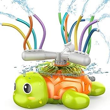 SAOCOOL Sprinkler for Kids Outdoor Play Water Toys Spinning Turtle Sprinklers with 12 Wiggle Tubes Kids Sprinkler for Yard Games