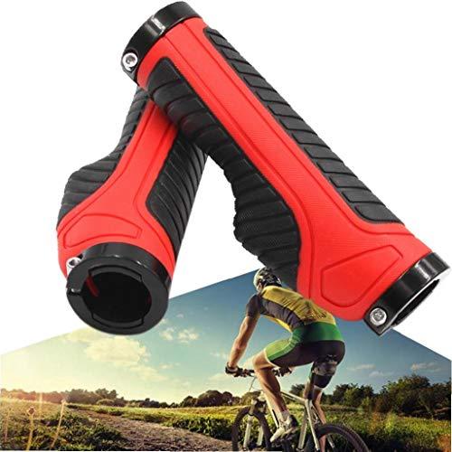Deanyi 1 Paar Fahrrad-Lenkergriffe Griffige Gummifahrrad-Handgriff-Griff-Fahrrad-Handgriff-Schutz für Faltbare Fahrrad (rot)