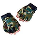 Children Military Half-Gloves For Small Army Fans – Half-Gloves To Wear When Cycling, Exercising, Skating, Skateboarding, Roller Skating – Breathable Protective Half-Gloves For Kids