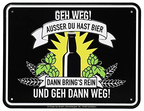 Close Up Lustige Fußmatte GEH Weg! Außer du hast Bier - Schmutzfangmatte Türmatte 60 x 40 cm - Schwarz