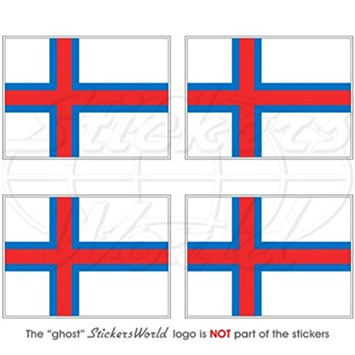 Färöer-Inseln färöisch Flagge, Färöer Faeroes 5,1cm (50mm) Vinyl bumper-helmet Sticker, Aufkleber X4