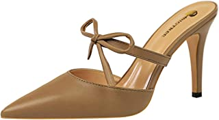 Melady Women Fashion Stiletto Heels Mules Sandals Closed Toe Slip On