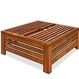 Deuba tavolino copribase per ombrellone Copertura per Supporto Parasole Rivestimento ombrelloni Legno Acacia 62x62x25cm