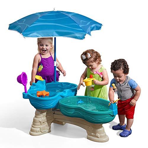 FSGD Doble piscina mesa de remo de arena y agua mesa de juego de arena de los niños mesa de arena interior al aire libre juguetes con un montón de grandes accesorios