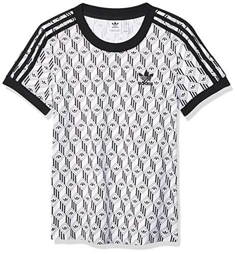 adidas Damen 3 Stripes Tee Unterhemd, schwarz/weiß, 36