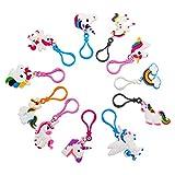 Sungpunet 11 Lot Rainbow Unicorn Porte-clés Porte-clés Décoration Cadeau de fête d'anniversaire Fournitures