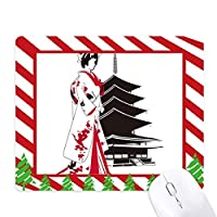 日本の着物の女の子 ゴムクリスマスキャンディマウスパッド