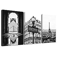 黒と白の鉄の塔の装飾壁アートキャンバス絵画装飾キャンバス印刷3psc /セット(フレーム付き)20x30cm InnerFrame
