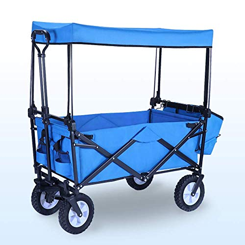 SEEYE Folding Wagon Cart Multi-Function Collapsible Outdoor Utility Wagon Baby Stroller Tool Cart with All Terrain Wheels and Canopy 265 Lb Suitable for Garden Beach, Park, Sports, Parties -Blue