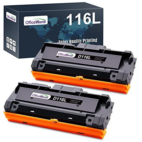 OFFICEWORLD D116L D116S Cartuccia Toner per MLTD116L MLT-D116S (2 Nero) per Stampanti Samsung Xpress SL M2625 M2625D M2626 M2675 M2675F M2675FN M2676 M2825 M2825DW M2825ND M2826 M2875 M2875FW