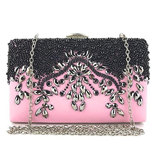 HMNS Bolsos de noche para mujer Bolso de embrague con cuentas de diamante bordado, plata exquisita de lujo brillante con un bolso de cadena, rosa, 20x4x12cm