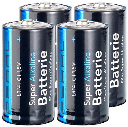PEARL Große Batterien: Sparpack Alkaline-Batterien Baby 1,5V Typ C im 4er-Pack (Batterien Baby c 1 5 Volt)
