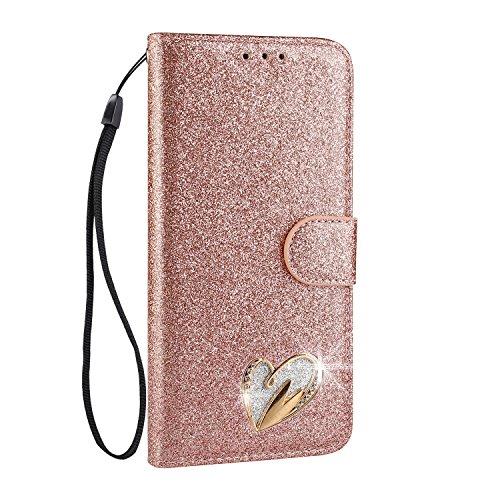 Mo-Somnus Funda de piel sintética con tapa para Samsung S series (función atril, incluye protector de pantalla de cristal templado), diseño de corazón con brillantes Galaxy S7 Edge oro rosa