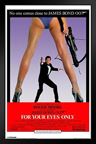 Pyramid America James Bond for Your Eyes Only Roger Moore British Mi6Agent 007Solo per i Tuoi Occhi 14x20 Inches Framed Poster
