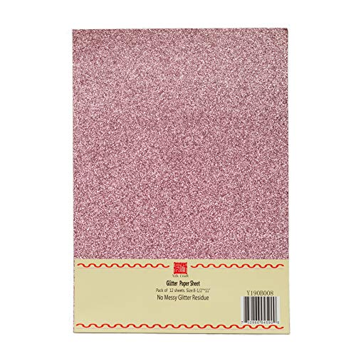 YZH Crafts Glitter Cardstock Paper,No-Shed Shimmer Glitter Paper, 10 Sheets, 8 Inch X 12 Inch, A4 Size (Pink)