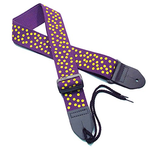 Girls Guitar Strap 2' Cotton Polka Dot Guitar Strap with Yellow Dots on a Purple Cotton Strap