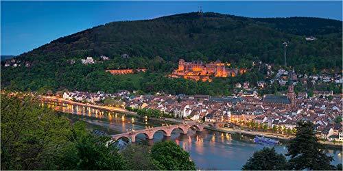Acrylglasbild bis 280 cm Breite, Panoramabild Heidelberg vom Phiolsophenweg, Fineart Bild Foto als Wanddeko, Wandbild in Galerie Qualität unter Acrylglas auf Aluminium Dibond©