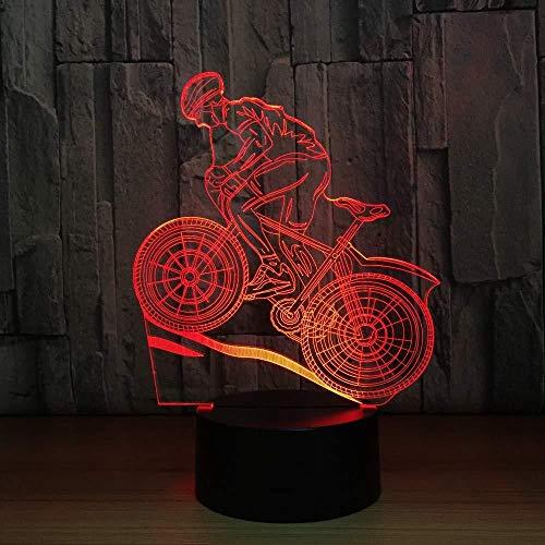 3D nachtlampje zadel lamp mountainbike nachtlicht 3D illusie lamp LED tafellamp met kleurverandering 7 LED tafellamp USB als huisdecoratie