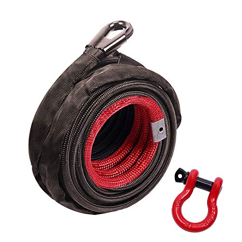 """ORCISH 3/8"""" x 100ft Dyneema Synthetic Winch Rope with Hook Car Tow Recovery Cable 20500Lbs"""