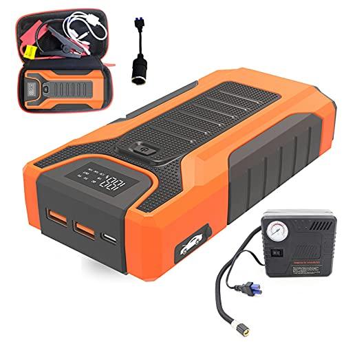 Arrancador De Batería De Coche 12V, Paquete De Energía De Arranque De Refuerzo De Coche Portátil, Con Bomba De Aire Para Inflar Neumáticos De Coche, 20800mAh / Puerto De Carga USB / Linterna LED