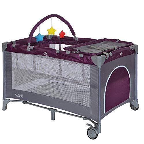 LCP Kids Baby-Reisebett 120x60 klappbar mit Neugeborenen Einlage Wickelauflage in Lila
