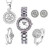 Orologio da donna, set di cinque pezzi, con diamanti, alla moda, orologio al quarzo da ragazza.
