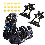 MUFENA Empuñaduras de hielo para nieve y hielo, tacos de tracción para zapatos y botas de goma, crampones, con 10 tacos de acero para evitar actividades al aire libre de la lucha libre