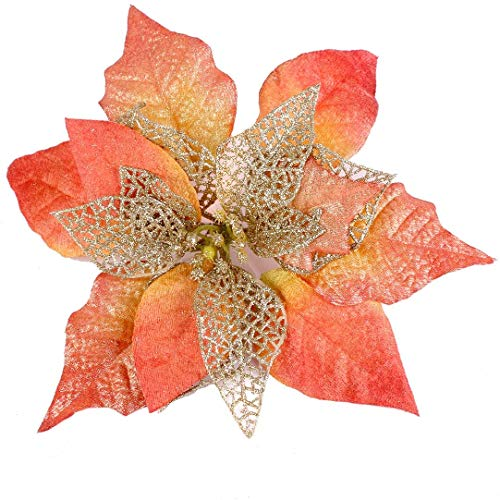 Louiesya Pack of 12 Glitter Artificial Wedding Christmas Flowers Glitter Poinsettia Christmas Tree Ornaments Dia 9 Inch (Orange)
