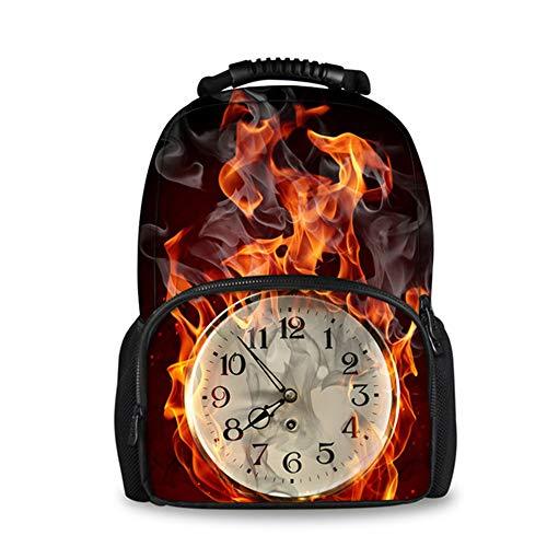 fhdc Rucksäcke Reise Laptop Frauen Leinwand Filz Rucksack Coole 3D Fire Ball Uhr Druck Rucksäcke Für Teenager MädchenUmhängetaschen H5919A