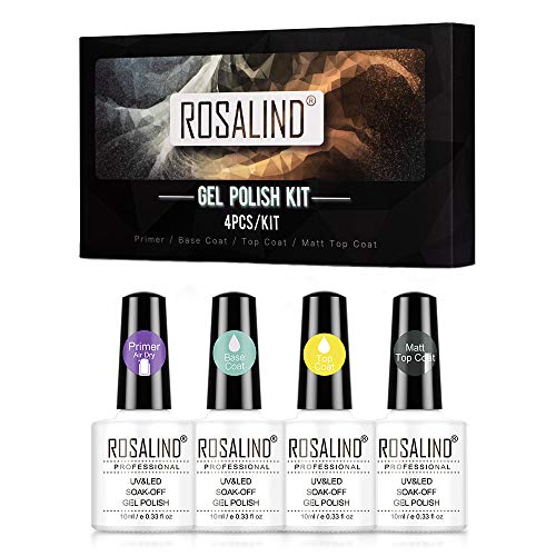 ROSALIND Esmaltes Semipermanentes Base y Top Coat y Matte y Primer de Uñas en Gel UV LED, 4pcs Kit de Esmaltes de Uñas 10ml