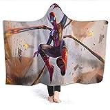 Ficldxc Manta con capucha de Spiderman, diseño de superhéroe, cómics, araña de hierro, ligera, para niños, tamaño 152 x 127 cm