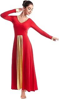 Praise Liturgical Lyrical Dance Costume for Women Adult Long Sleeve Metallic Gold V-Neck Worship Full Dress Dancewear
