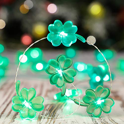 Irish Clover String Lights Decorating for St. Patrick's Day, 10ft 40 LEDs Shamrock Green Bulbs, Battery-Powered with 9 Lighting Models Remote, Fairy Lighting Decorative for Indoor & Covered Outdoor