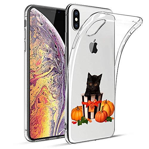 Suhctup Coque Compatible pour iPhone 7/8 Halloween Cadeau Transparente Ultra Mince Silicone Souple Anti Choc TPU de Protection Housse Étui Pumpkins Fantôme Citrouille Sorcière Motif(Chat)