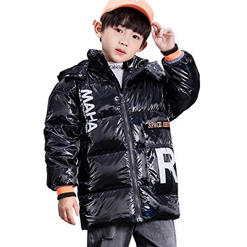 YFPICO Daunenjacke Kinder,Winterjacke Jungen Daunenmantel Parka Winterjacke Kinder Jungen Lang Jacket Oberbekleidung-Ideale Winterjacke, Schwarz, 134/140(Etikettengröße:140)