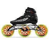 Bont Inline Skates | Inline Speed Skating Racing | Semi Race Skate Boot + CXXV Black Frame + Street Fight 125mm Wheels + ABEC5 Bearings | Vegan | Youth - Boys - Girls - Men - Wome (Black/10.5)
