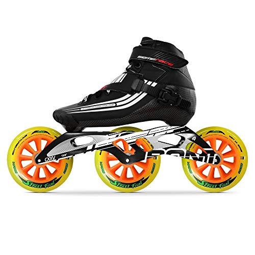 Bont Inline Skates | Inline Speed Skating Racing | Semi Race Skate Boot + CXXV Black Frame + Street Fight 125mm Wheels + ABEC5 Bearings | Vegan | Youth - Boys - Girls - Men - Wome (Black/6.5)