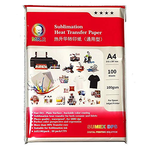 MR.R Sublimation Heat Transfer Paper A4, 210x297mm, 100 Sheets, 100gsm, Compatible with EPSON Sublimation Printer for Polyester and Ceramic Mug