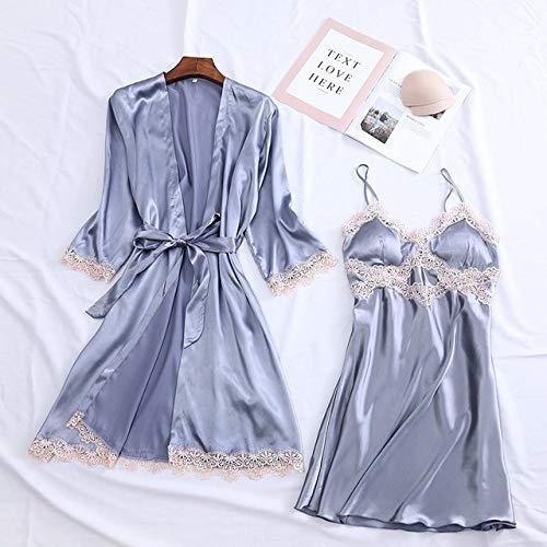 IAMZHL Albornoz Kimono para Mujer Sexy Blanco Novia Dama de Honor Conjunto de Bata de Boda Ajuste de Encaje Ropa de Dormir Ropa Casual para el hogar Ropa de Dormir-Gray Robe Set 10-3-XL