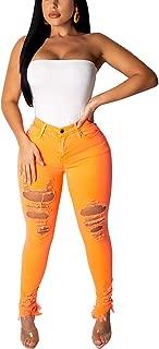 Women's Ripped Stretch Denim Skinny Jeans High Waist Distressed Plus Size Jeans