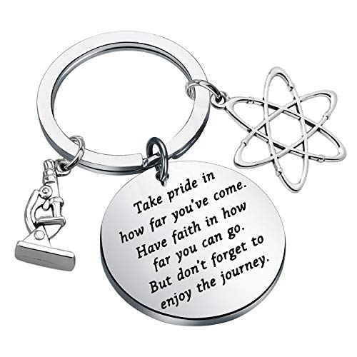 Science keychain Chemistry Science Gifts Atom Microscope Keychain Scientist Physicist Chemist Graduation Gift Biology Jewelry Science Lovers Gift (Science keychain)