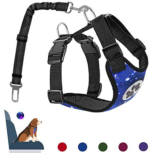 AUTOWT Dog Safety Vest Harness, Pet Car Harness Dog Safety Seatbelt Breathable Mesh Fabric Vest with Adjustable Strap for Travel and Daily Use in Vehicle for Dogs Puppy Cats (XS, Starry Blue)