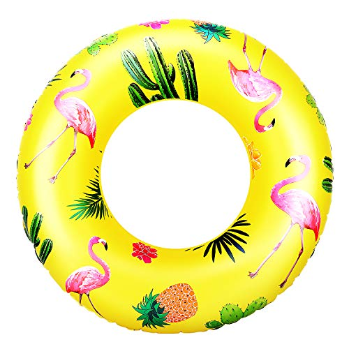 HeySplash Cartoon Swim Ring, Inflatable Durable Round Shaped Flamingo Summer Pool Beach Party Swimming Float Tube, Water Fun Swim Pool Toys with Repair Patch for Kids Adults, 90cm Diameter - Yellow