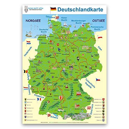 Deutschlandkarte: Lernposter 70 x 100cm, abwaschbar durch UV-Lack-Beschichtung