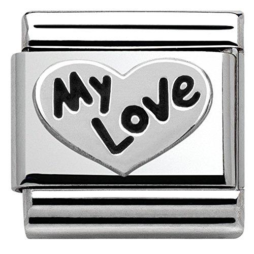 Nomination Damen-Armband Classic Composable oxidierte Symbole (Herz My Love) Edelstahl 1 cm - 330101/09