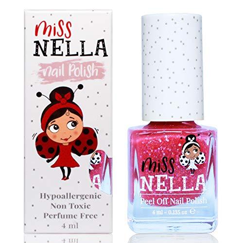 Miss Nella SUGAR HUGS- Rose Vernis à ongles spécial avec des paillettes pour enfants, formule Peel-off, à base d'eau et sans odeur